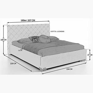 Designer Bett mit Bettkasten ELSA Samt-Stoff Polsterbett Lattenrost Doppelbett Stauraum Holzfuß schwarz (Altweiß, 180 x 200 cm) - 2