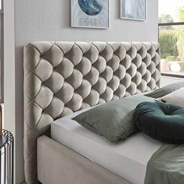Designer Bett mit Bettkasten ELSA Samt-Stoff Polsterbett Lattenrost Doppelbett Stauraum Holzfuß schwarz (Altweiß, 180 x 200 cm) - 3