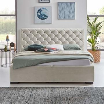 Designer Bett mit Bettkasten ELSA Samt-Stoff Polsterbett Lattenrost Doppelbett Stauraum Holzfuß schwarz (Altweiß, 180 x 200 cm) - 4