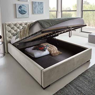 Designer Bett mit Bettkasten ELSA Samt-Stoff Polsterbett Lattenrost Doppelbett Stauraum Holzfuß schwarz (Altweiß, 180 x 200 cm) - 1