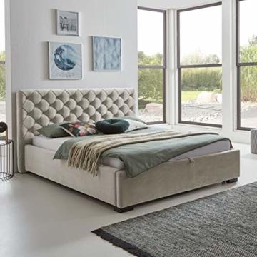 Designer Bett mit Bettkasten ELSA Samt-Stoff Polsterbett Lattenrost Doppelbett Stauraum Holzfuß schwarz (Altweiß, 180 x 200 cm) - 5