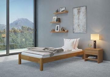 Erst-Holz® Buche-Bett Futonbett Einzelbett 90x200 Massivholzbett Natur Rollrost 60.84-09 - 2