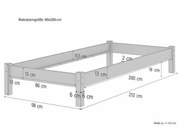 Erst-Holz® Buche-Bett Futonbett Einzelbett 90x200 Massivholzbett Natur Rollrost 60.84-09 - 3