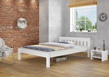 Erst-Holz® Doppelbett 160x200 Futonbett Ehebett weiß Kiefer Massivholzbett Rollrost 60.38-16 W - 2