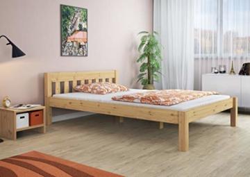 Erst-Holz® Doppelbett Massivholzbett 140x200 Kiefer Natur Futonbett Einzelbett Rollrost 60.38-14 - 3