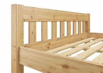 Erst-Holz® Doppelbett Massivholzbett 140x200 Kiefer Natur Futonbett Einzelbett Rollrost 60.38-14 - 6