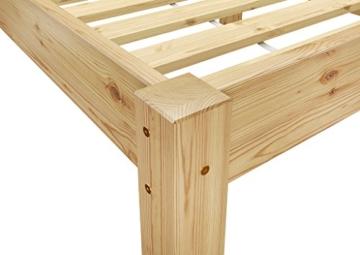 Erst-Holz® Doppelbett Massivholzbett 140x200 Kiefer Natur Futonbett Einzelbett Rollrost 60.38-14 - 7