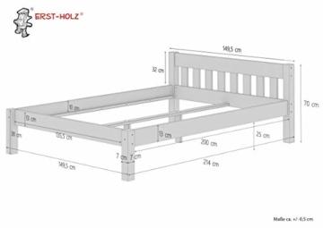 Erst-Holz® Doppelbett Massivholzbett 140x200 Kiefer Natur Futonbett Einzelbett Rollrost 60.38-14 - 9