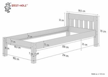 Erst-Holz® Einzelbett Massivholz-Bett Kiefer Natur 90x200 Futonbett Jugendbett Rollrost Singlebett 60.38-09 - 3