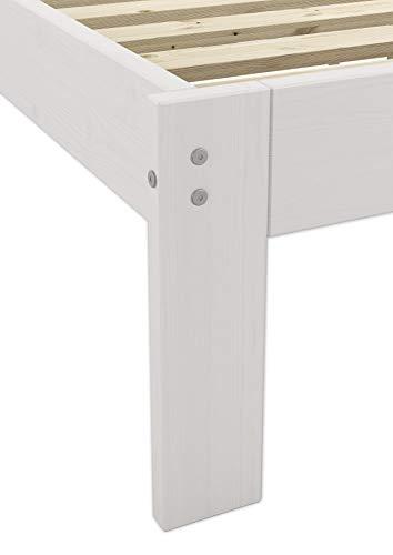 Erst-Holz® Massivholzbett weiß Kiefer Jugendbett 120x200 Einzelbett Futonbett mit Rollrost 60.64-12 W - 8