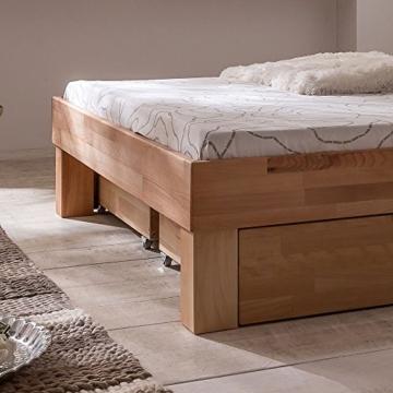 Eternity-Moebel24 Futonbett Schlafzimmerbett Massivholzbett inkl. 2 Bettkästen Bett in Kernbuche Buche geölt Jugendbett (140 x 200 cm) - 4