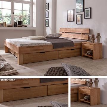 Eternity-Moebel24 Futonbett Schlafzimmerbett Massivholzbett inkl. 2 Bettkästen Bett in Kernbuche Buche geölt Jugendbett (140 x 200 cm) - 1