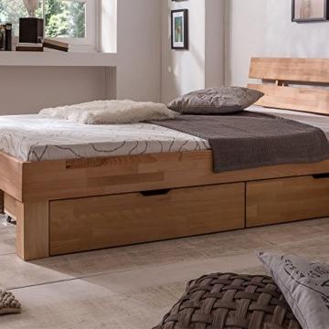 Eternity-Moebel24 Futonbett Schlafzimmerbett Massivholzbett inkl. 2 Bettkästen Bett in Kernbuche Buche geölt Jugendbett (140 x 200 cm) - 5