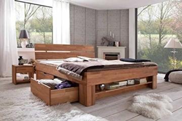 Eternity-Moebel24 Futonbett Schlafzimmerbett Massivholzbett Kernbuche massiv inkl. Bettkästen u. Fußteil in 2 Größen (140 x 200 cm) - 2