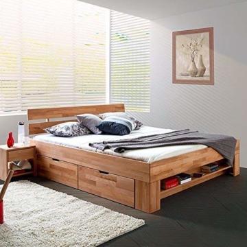 Eternity-Moebel24 Futonbett Schlafzimmerbett Massivholzbett Kernbuche massiv inkl. Bettkästen u. Fußteil in 2 Größen (140 x 200 cm) - 1