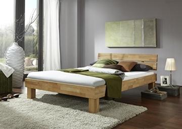 Futonbett Schlafzimmerbett Massivholzbett Kernbuche Buche geölt Bett Liegefläche 90 x 200 cm inkl 2 Schubladen - 2