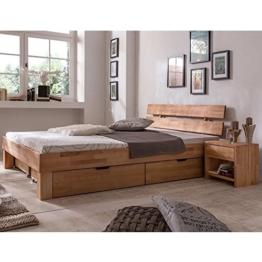 Futonbett Schlafzimmerbett Massivholzbett Kernbuche Buche geölt Bett Liegefläche 90 x 200 cm inkl 2 Schubladen - 1