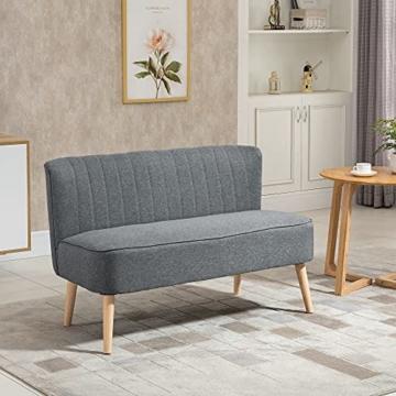 HOMCOM 2-Sitzer Couch Stoffsofa Polstersofa Sitzmöbel Holz hellgrau 117 x 56,5 x 77 cm - 3