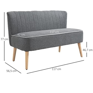HOMCOM 2-Sitzer Couch Stoffsofa Polstersofa Sitzmöbel Holz hellgrau 117 x 56,5 x 77 cm - 5