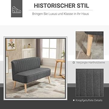 HOMCOM 2-Sitzer Stoffsofa Polstersofa Sitzmöbel Loungesofa Holz Schaumstoff Hellgrau 117 x 56,5 x 77 cm - 3