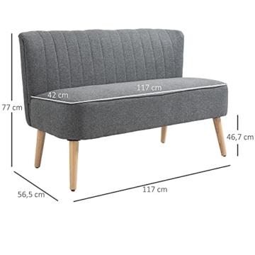 HOMCOM 2-Sitzer Stoffsofa Polstersofa Sitzmöbel Loungesofa Holz Schaumstoff Hellgrau 117 x 56,5 x 77 cm - 5