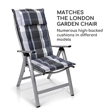 Homeoutfit24 Sun Garden Premium Line 1er Set Gartenstuhl - Hochlehner London in Silber, Klappsessel aus Aluminium - 2