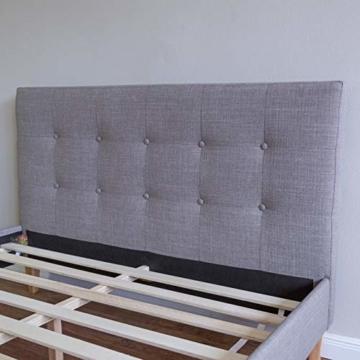 Homestyle4u 1730, Polsterbett 140 x 200 cm, Bett Mit Lattenrost, Rückenlehne, Grau - 4