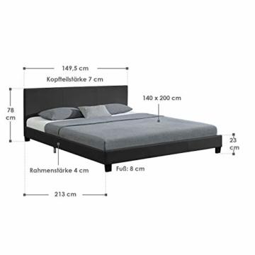 Juskys Polsterbett Bolonia 140 x 200 cm   Bett inkl. Lattenrost und Kopfteil  Bettgestell aus Kunstleder & Holz   Jugendbett in Grau - 2