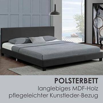 Juskys Polsterbett Bolonia 140 x 200 cm   Bett inkl. Lattenrost und Kopfteil  Bettgestell aus Kunstleder & Holz   Jugendbett in Grau - 3