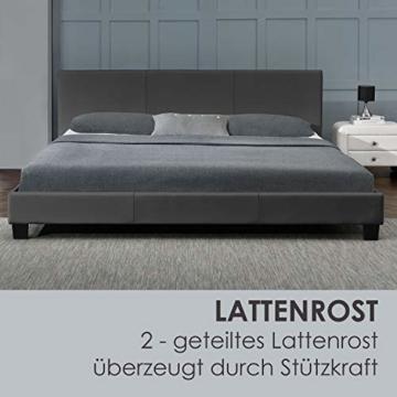 Juskys Polsterbett Bolonia 140 x 200 cm   Bett inkl. Lattenrost und Kopfteil  Bettgestell aus Kunstleder & Holz   Jugendbett in Grau - 4