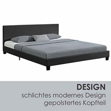 Juskys Polsterbett Bolonia 140 x 200 cm   Bett inkl. Lattenrost und Kopfteil  Bettgestell aus Kunstleder & Holz   Jugendbett in Grau - 5