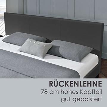 Juskys Polsterbett Bolonia 140 x 200 cm   Bett inkl. Lattenrost und Kopfteil  Bettgestell aus Kunstleder & Holz   Jugendbett in Grau - 6