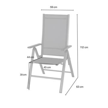 KHG Gartenstuhl mit Armlehnen aus Aluminium, klappbar, wetterfest, 5-fach verstellbare Rückenlehne, 110kg belastbar - Anthrazit, Anzahl:1 Stück - 2