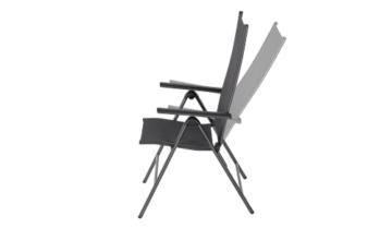 KHG Gartenstuhl mit Armlehnen aus Aluminium, klappbar, wetterfest, 5-fach verstellbare Rückenlehne, 110kg belastbar - Anthrazit, Anzahl:1 Stück - 3