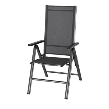 KHG Gartenstuhl mit Armlehnen aus Aluminium, klappbar, wetterfest, 5-fach verstellbare Rückenlehne, 110kg belastbar - Anthrazit, Anzahl:1 Stück - 1