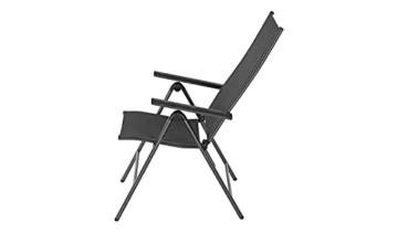 KHG Gartenstuhl mit Armlehnen aus Aluminium, klappbar, wetterfest, 5-fach verstellbare Rückenlehne, 110kg belastbar - Anthrazit, Anzahl:1 Stück - 8