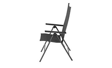 KHG Gartenstuhl mit Armlehnen aus Aluminium, klappbar, wetterfest, 5-fach verstellbare Rückenlehne, 110kg belastbar - Anthrazit, Anzahl:1 Stück - 9