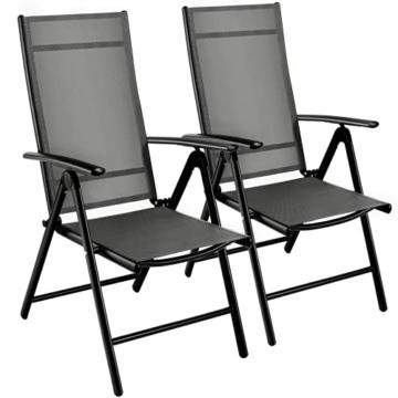 Klappstuhl Gartenstuhl, 2er Set Alu Klappsessel, 7-Fach Verstellbare Hochlehner Stühle, Outdoor Wetterfest Terassenstuhl, Gartenmöbel, grau - 1
