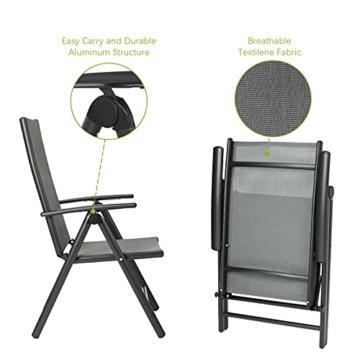 Klappstuhl Gartenstuhl, 2er Set Alu Klappsessel, 7-Fach Verstellbare Hochlehner Stühle, Outdoor Wetterfest Terassenstuhl, Gartenmöbel, grau - 5
