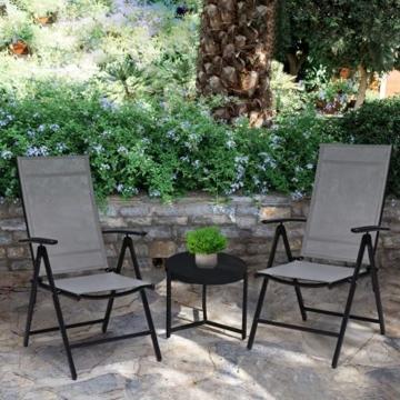 Klappstuhl Gartenstuhl, 2er Set Alu Klappsessel, 7-Fach Verstellbare Hochlehner Stühle, Outdoor Wetterfest Terassenstuhl, Gartenmöbel, grau - 6