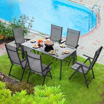 Klappstuhl Gartenstuhl, 2er Set Alu Klappsessel, 7-Fach Verstellbare Hochlehner Stühle, Outdoor Wetterfest Terassenstuhl, Gartenmöbel, grau - 7