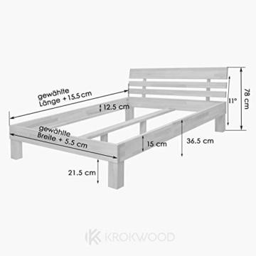 Krok Wood Massivholzbett Julia mit Kopfteil in Eiche (160 x 200 cm) - 6