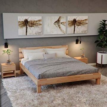 Krok Wood Massivholzbett Valetta mit Kopfteil in Buche 140x200 cm - 1