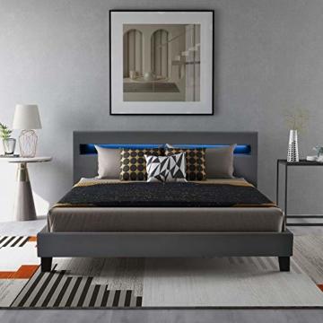 LED Polsterbett Lattenrost 140 x 200 cm– Kunstleder Bezug & Holz Gestell in grau,inkl. LED-Beleuchtung, Kunstleder & Lattenrost, Jugendbett Bett (Ohne Matratze)(Grau) - 2