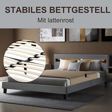 LED Polsterbett Lattenrost 140 x 200 cm– Kunstleder Bezug & Holz Gestell in grau,inkl. LED-Beleuchtung, Kunstleder & Lattenrost, Jugendbett Bett (Ohne Matratze)(Grau) - 4