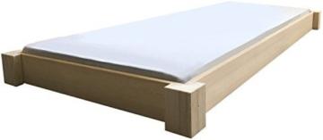 LIEGEWERK Bodentiefes Designbett Massivholzbett Bett Holz massiv 90 100 120 140 160 180 200 x 200cm hergestellt in BRD (200cm x 200cm) - 1