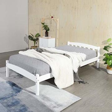 LiePu Holzbett Einzelbett Jugendbett, Kiefer Massivholzbett, Bettgestell mit Lattenrost und Kopfteil, 90 x 190 cm, Weiß - 3