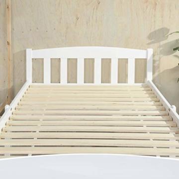 LiePu Holzbett Einzelbett Jugendbett, Kiefer Massivholzbett, Bettgestell mit Lattenrost und Kopfteil, 90 x 190 cm, Weiß - 4