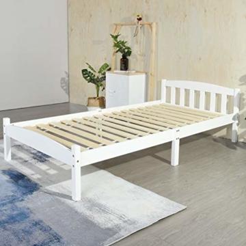 LiePu Holzbett Einzelbett Jugendbett, Kiefer Massivholzbett, Bettgestell mit Lattenrost und Kopfteil, 90 x 190 cm, Weiß - 1