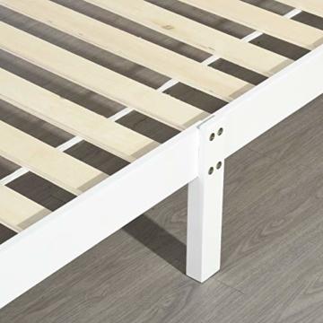 LiePu Holzbett Einzelbett Jugendbett, Kiefer Massivholzbett, Bettgestell mit Lattenrost und Kopfteil, 90 x 190 cm, Weiß - 5